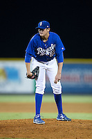 Burlington Royals pitcher Joseph Markus (27) looks to his catcher for the sign against the Greeneville Astros at Burlington Athletic Park on August 29, 2015 in Burlington, North Carolina.  The Royals defeated the Astros 3-1. (Brian Westerholt/Four Seam Images)