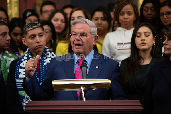 United States Senator Bob Menendez (Democrat of New Jersey), joined by other Democratic lawmakers, speaks during a press conference on the Deferred Action for Childhood Arrivals program on Capitol Hill in Washington D.C., U.S. on Tuesday, November 12, 2019.  The Supreme Court is currently hearing a case that will determine the legality and future of the DACA program.  <br /> <br /> Credit: Stefani Reynolds / CNP /MediaPunch