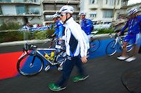 17 SEP 2011 - LA BAULE, FRA - Tom Bishop (Rouen Triathlon) enters transition with his team mates to rack his bike ahead of the final round of the men's French Grand Prix Series at the Triathlon Audencia in La Baule, France (PHOTO (C) NIGEL FARROW)