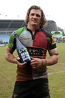 20130309 Copyright onEdition 2013©.Free for editorial use image, please credit: onEdition..LV= Man of the Match winner Luke Wallace of Harlequins celebrates winning the LV= Cup semi final match between Harlequins and Bath Rugby at The Twickenham Stoop on Saturday 9th March 2013 (Photo by Rob Munro)..For press contacts contact: Sam Feasey at brandRapport on M: +44 (0)7717 757114 E: SFeasey@brand-rapport.com..If you require a higher resolution image or you have any other onEdition photographic enquiries, please contact onEdition on 0845 900 2 900 or email info@onEdition.com.This image is copyright onEdition 2013©..This image has been supplied by onEdition and must be credited onEdition. The author is asserting his full Moral rights in relation to the publication of this image. Rights for onward transmission of any image or file is not granted or implied. Changing or deleting Copyright information is illegal as specified in the Copyright, Design and Patents Act 1988. If you are in any way unsure of your right to publish this image please contact onEdition on 0845 900 2 900 or email info@onEdition.com