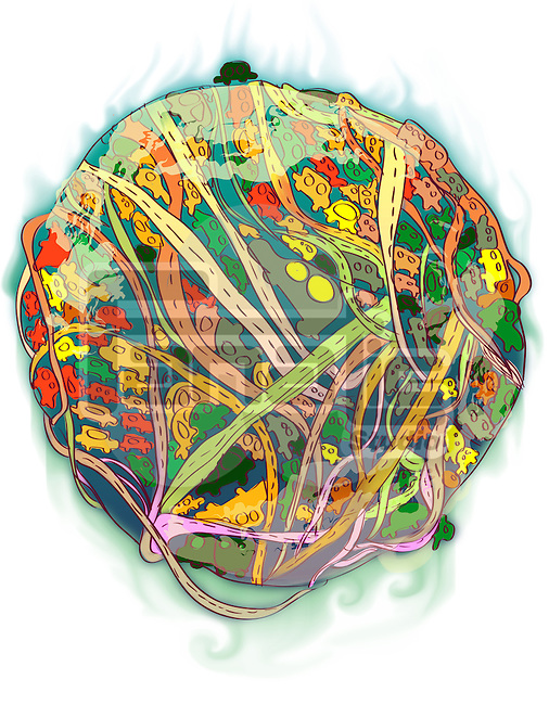 Illustrative representation of a globe showing environmental issues