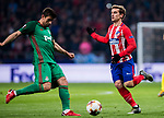 Antoine Griezmann (R) of Atletico de Madrid fights for the ball with Nemanja Pejcinovic of FC Lokomotiv Moscow during the UEFA Europa League 2017-18 Round of 16 (1st leg) match between Atletico de Madrid and FC Lokomotiv Moscow at Wanda Metropolitano  on March 08 2018 in Madrid, Spain. Photo by Diego Souto / Power Sport Images