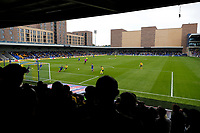 4th September 2021; Merton, London, England;  EFL Championship football, AFC Wimbledon versus Oxford City: Cameron Brannagan of Oxford United taking a shot as the Oxford United fans watch play
