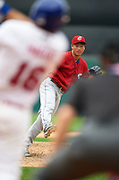 Columbus Clippers pitcher C.C. Lee (20) follows through on a pitch during a game against the Buffalo Bisons on July 19, 2015 at Coca-Cola Field in Buffalo, New York.  Buffalo defeated Columbus 4-3 in twelve innings.  (Mike Janes/Four Seam Images)