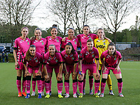 Ludmila Matavkova (9) of Sporting Charleroi, Renate-Ly Mehevets (15) of Sporting Charleroi, Madison Hudson (8) of Sporting Charleroi, Alysson Duterne (14) of Sporting Charleroi, Noemie Fourdin (11) of Sporting Charleroi, goalkeeper Ambre Collet (1) of Sporting Charleroi (front row L to R) Jeanne Bouchenna (10) of Sporting Charleroi , Megane Vos (20) of Sporting Charleroi, Jessica Silva Valdebenito (18) of Sporting Charleroi, Julie Challe (12) of Sporting Charleroi and Chrystal Lermusiaux (2) of Sporting Charleroi pose for the team photo before a female soccer game between Sporting Charleroi and White Star Woluwe on the 7 th matchday in play off 2 of the 2020 - 2021 season of Belgian Scooore Womens Super League , friday 14 th of May 2021  in Marcinelle , Belgium . PHOTO SPORTPIX.BE | SPP | Sevil Oktem