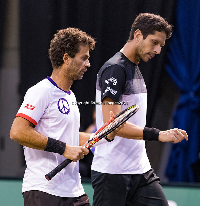 Rotterdam, The Netherlands, 2 march  2021, ABNAMRO World Tennis Tournament, Ahoy, First round doubles: Marcelo Melo (BRA) / Jean-Julien Rojer (NED).<br /> Photo: www.tennisimages.com/henkkoster