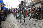 The peloton including Stijn Devolder (BEL) Vacansoleil-DCM Pro Cycling Team climbs Molenberg during the 96th edition of The Tour of Flanders 2012, running 256.9km from Bruges to Oudenaarde, Belgium. 1st April 2012. <br /> (Photo by Eoin Clarke/NEWSFILE).