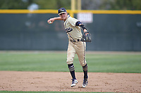Vista Murrieta Broncos shortstop Jake Moberg (5)  in action against the Corona Panthers at Corona High School on March 24, 2018 in Corona, California. The Panthers defeated the Broncos 7-1.  (Donn Parris/Four Seam Images)