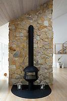 Fireplace on stone wood