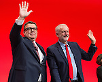 © Joel Goodman - 07973 332324 . 27/09/2016 . Liverpool , UK . TOM WATSON and JEREMY CORBYN wave after Tom Watson delivers the deputy leader's speech on the third day of the Labour Party Conference . Photo credit : Joel Goodman