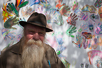 Paul Wislotski and his collective group art piece, Hempfest Seattle 2016, WA, USA.