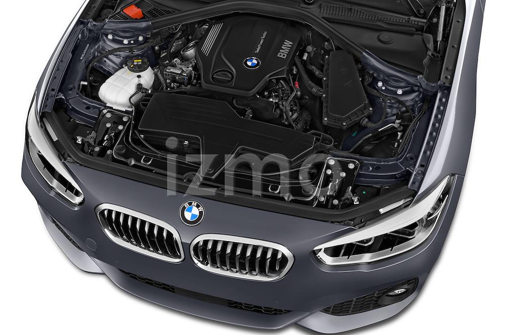 Car Stock 2015 BMW 1 Series M Sport 3 Door Hatchback Engine high angle detail view