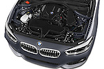 Car Stock 2015 BMW 1 Series M Sport 3 Door Hatchback Engine high angle detail view