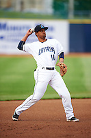 Lake County Captains third baseman Ordomar Valdez (11) warmup throw to first during a game against the Fort Wayne TinCaps on May 20, 2015 at Classic Park in Eastlake, Ohio.  Lake County defeated Fort Wayne 4-3.  (Mike Janes/Four Seam Images)