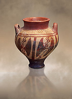Small Mycenaean amphora decorated with double headed axes, Grave VI, Grave Circle A, Mycenae 16-15 Cent BC. National Archaeological Museum Athens. Cat No 196