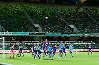 24th March 2021; HBF Park, Perth, Western Australia, Australia; A League Football, Perth Glory versus Sydney FC; Perth's Kosuke Ota climbs highest at a corner kick to clear his box