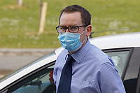 Pictured: James Oulton arrives at Swansea Crown Court, Wales, UK. Tuesday 27 April 2021<br /> Re: Primary school teacher James Oulton, accused of sexually touching 11 former pupils, on trial at Swansea Crown Court, Wales, UK.<br /> Oulton, 34, denies 30 charges relating to his time at Mary Immaculate Catholic Primary School in Haverfordwest, Pembrokeshire between 2012 and 2018.