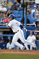 Dunedin Blue Jays catcher Mike Reeves (23) at bat during a game against the Clearwater Threshers on April 10, 2015 at Florida Auto Exchange Stadium in Dunedin, Florida.  Clearwater defeated Dunedin 2-0.  (Mike Janes/Four Seam Images)