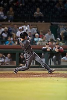 Salt River Rafters catcher Dom Miroglio (55), of the Arizona Diamondbacks organization, follows through on his swing during an Arizona Fall League game against the Scottsdale Scorpions at Scottsdale Stadium on October 12, 2018 in Scottsdale, Arizona. Scottsdale defeated Salt River 6-2. (Zachary Lucy/Four Seam Images)