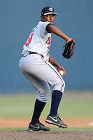 Rome Braves pitcher Carlos Perez #39 delivers a pitch during game one of a double header against the Asheville Tourists at McCormick Field on June 4, 2013 in Asheville, North Carolina. The Braves won the game 5-3. (Tony Farlow/Four Seam Images)