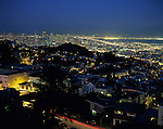 Retro Image of San Francisco downtownDowntown San Francisco illuminated at night from Tank Hill overview, San Francisco, California USA