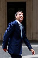 Il Presidente del Consiglio Matteo Renzi si prepara ad accogliere il Presidente del Consiglio Europeo a Palazzo Chigi, Roma, 18 giugno 2014.<br /> Italian Premier Matteo Renzi prepares to welcome European Council President at Chigi Palace, Rome, 18 June 2014.<br /> UPDATE IMAGES PRESS/Isabella Bonotto