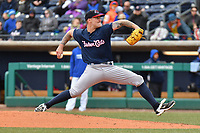 Starting Pitcher Sean Reid-Foley (9) of the New Hampshire Fisher Cats delivers a pitch during a game against the Hartford Yard Goats at Dunkin Donuts Park on April 8, 2018 in Hartford, Connecticut.<br /> (Gregory Vasil/Four Seam Images)