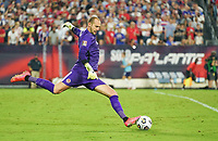 NASHVILLE, TN - SEPTEMBER 5: Milan Borjan #18 GK of Canada sends a goalkick downfield during a game between Canada and USMNT at Nissan Stadium on September 5, 2021 in Nashville, Tennessee.