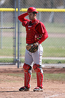 April 5, 2009:  Catcher Zach Dygert (15) of the Ball State Cardinals during a game at Amherst Audubon Field in Buffalo, NY.  Photo by:  Mike Janes/Four Seam Images