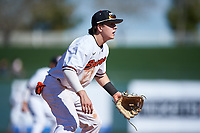 Oregon State Beavers third baseman Ryan Ober (18) during an NCAA game against the New Mexico Lobos at Surprise Stadium on February 14, 2020 in Surprise, Arizona. (Zachary Lucy / Four Seam Images)