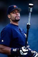 Tony Clark of the Detroit Tigers plays in a baseball game at Edison International Field during the 1998 season in Anaheim, California. (Larry Goren/Four Seam Images)