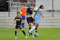 Shannon Boxx (7) of the Los Angeles Sol and Rosana (11) of Sky Blue FC go up for a header. Sky Blue FC and the Los Angeles Sol played to a 0-0 tie during a Women's Professional Soccer match at Yurcak Field in Piscataway, NJ, on June 13, 2009.