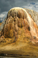 Orange Spring Mound is one of the most famous thermal features in the Mammoth Hot Springs area of YNP. The spring is actually at the very top of the mound. The spring builds travertine 24/7 and a photo of the mound in 1883 showed the entire mound to be only 2/3rds as high as it is today.
