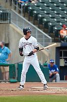 NW Arkansas Travelers Bobby Witt Jr. (7) bats during a game against the Tulsa Drillers on June 5, 2021 at Arvest Ballpark in Springdale, Arkansas.  (Travis Berg/Four Seam Images)