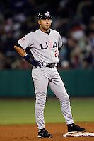 Derek Jeter of the USA during the World Baseball Championships at Angel Stadium in Anaheim,California on March 13, 2006. Photo by Larry Goren/Four Seam Images