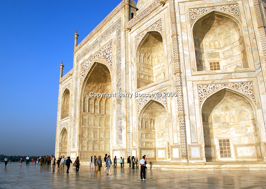 The Taj Mahal is considered the finest example of Mughal architecture.  Inspired by love and shaped to perfection, the Taj Mahal immortalizes one man's love for his wife and the splendor of an era.   Built in Agra, India