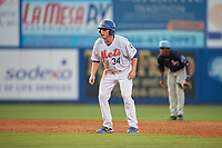 St. Lucie Mets first baseman Dash Winningham (34) leads off second base during the first game of a doubleheader against the Charlotte Stone Crabs on April 24, 2018 at First Data Field in Port St. Lucie, Florida.  St. Lucie defeated Charlotte 5-3.  (Mike Janes/Four Seam Images)