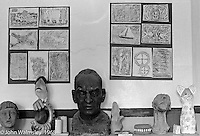 Bust of A.S.Neill, Art room, Summerhill school, Leiston, Suffolk, UK. 1968.