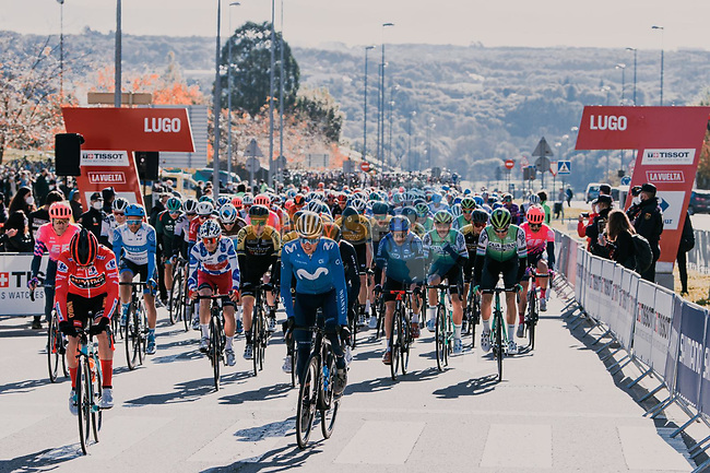 The start of Stage 14 of the Vuelta Espana 2020, running 204.7km from Lugo to Ourense, Spain. 4th November 2020.<br /> Picture: Unipublic/BaixauliStudio | Cyclefile<br /> <br /> All photos usage must carry mandatory copyright credit (© Cyclefile | Unipublic/BaixauliStudio)