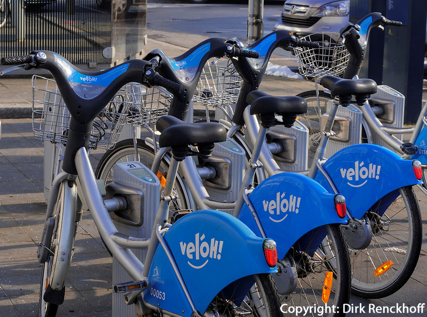 Leihfahrräder velóH in Luxemburg-City, Luxemburg, Europa<br /> Bycicle for rent velòH, Luxembourg City, Europe