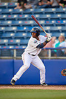 Salem Red Sox first baseman Jerry Downs (30) at bat during a game against the Lynchburg Hillcats on May 10, 2018 at Haley Toyota Field in Salem, Virginia.  Lynchburg defeated Salem 11-5.  (Mike Janes/Four Seam Images)