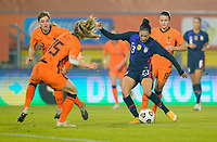 BREDA, NETHERLANDS - NOVEMBER 27: Christen Press #23 of the United States takes a shot during a game between Netherlands and USWNT at Rat Verlegh Stadion on November 27, 2020 in Breda, Netherlands.