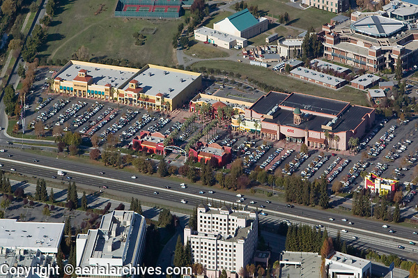 aerial photograph of a crowed shopping center in Silicon Valley, San Jose, California