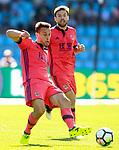 Real Sociedad's Sergio Canales (l) and Asier Illarramendi during La Liga match. August 19,2017. (ALTERPHOTOS/Acero)