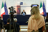 The Italian premier Mario Draghi attends a press conference after the G20 Extraordinary Leader's Meeting on Afghanistan. Rome (Italy), October 12th 2021<br /> Photo Samantha Zucchi Insidefoto