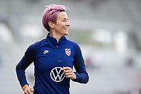 ORLANDO CITY, FL - FEBRUARY 21: Megan Rapinoe #15 of the USWNT warms up before a game between Brazil and USWNT at Exploria Stadium on February 21, 2021 in Orlando City, Florida.