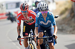 Enric Mas (ESP) Movistar Team and race leader Red Jersey Primoz Roglic (SLO) Jumbo-Visma out front during Stage 9 of La Vuelta d'Espana 2021, running 188km from Puerto Lumbreras to Alto de Velefique, Spain. 22nd August 2021.     <br /> Picture: Luis Angel Gomez/Photogomezsport   Cyclefile<br /> <br /> All photos usage must carry mandatory copyright credit (© Cyclefile   Luis Angel Gomez/Photogomezsport)