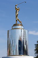 14th March 2021; Ponte Vedra Beach, Florida, USA;  The trophy is displayed on the 1st hole during the final round of THE PLAYERS Championship on March 14, 2021 at TPC Sawgrass Stadium Course in Ponte Vedra Beach, Fl.