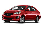 Stock pictures of low aggressive front three quarter view of 2020 Mitsubishi Mirage-G4 SE 4 Door Sedan Low Aggressive