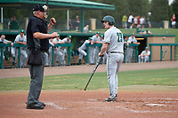 Dartmouth Big Green third baseman Steffen Torgersen (29) looks back at home plate umpire Rick Darby during a game against the USF Bulls on March 17, 2019 at USF Baseball Stadium in Tampa, Florida.  USF defeated Dartmouth 4-1.  (Mike Janes/Four Seam Images)